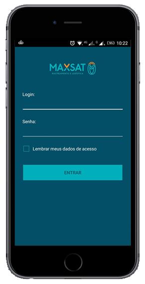 Tela inicial do aplicativo Maxsat, aplicativo de rastreamento veicular Maxsat